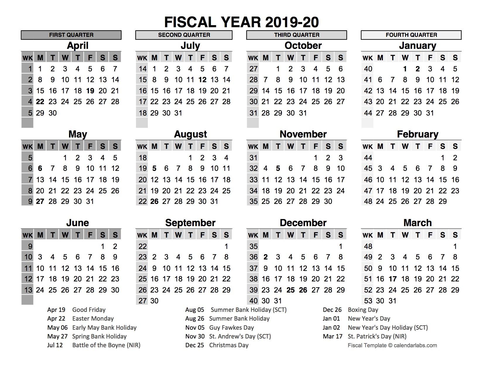 2019-2020 fiscal calendar uk template