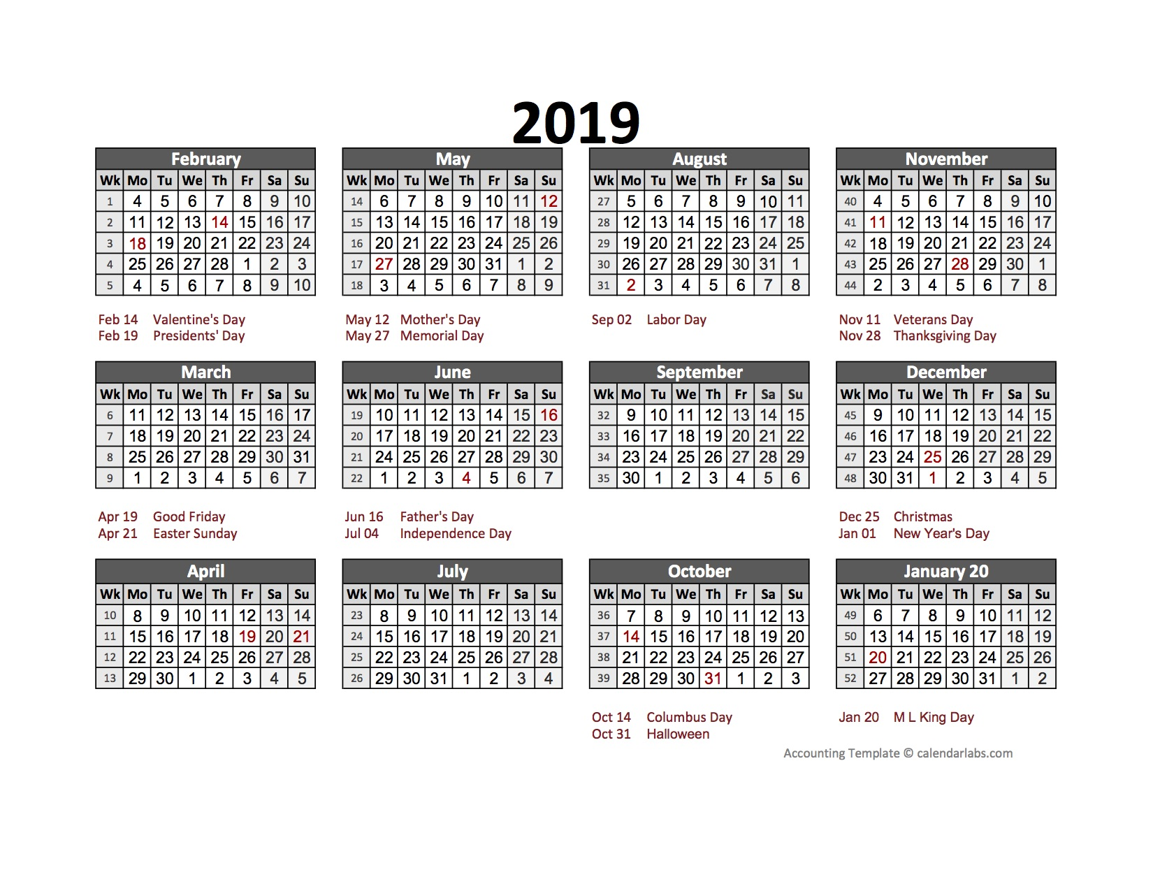 2019 Accounting Calendar 5-4-4 - Free Printable Templates