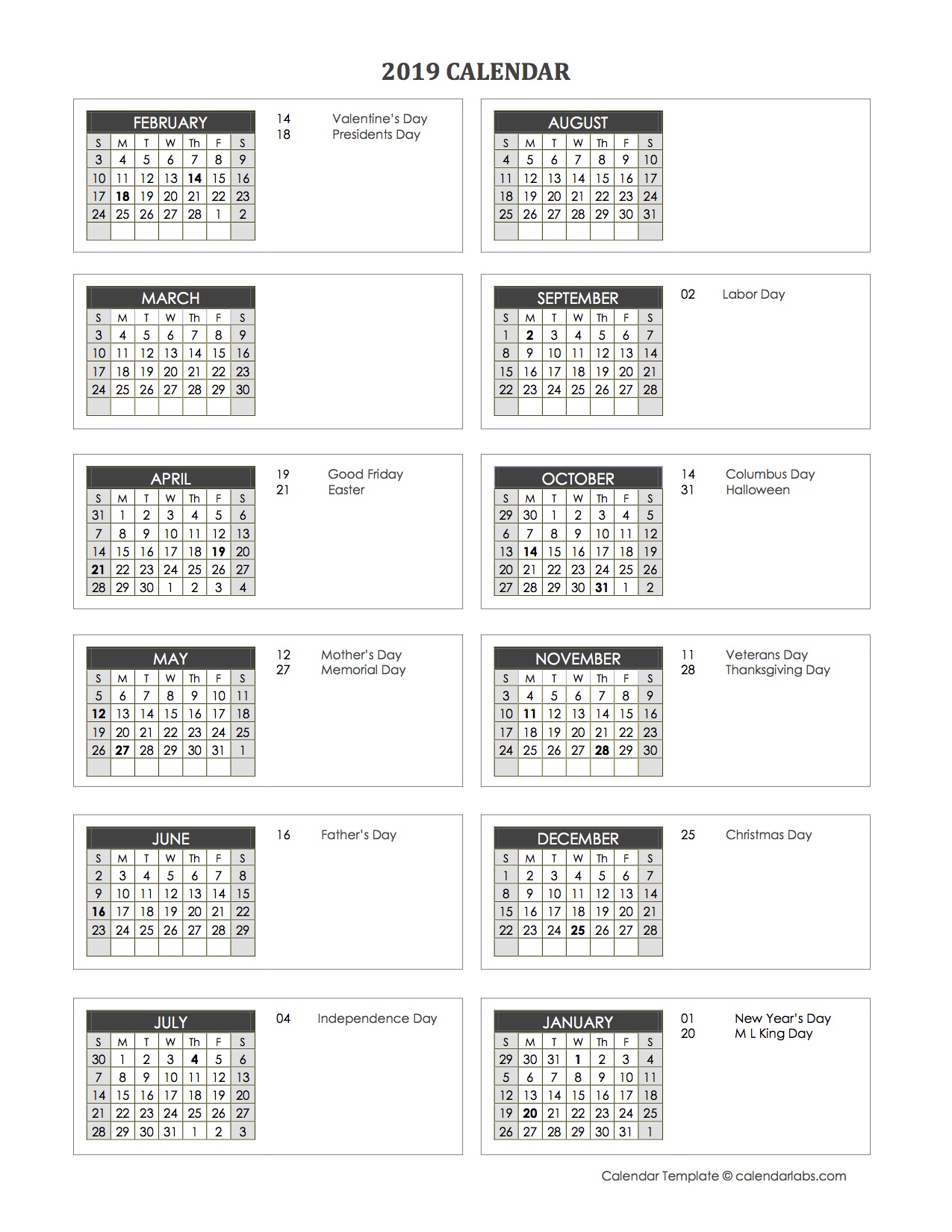 2019 accounting month end close calendar