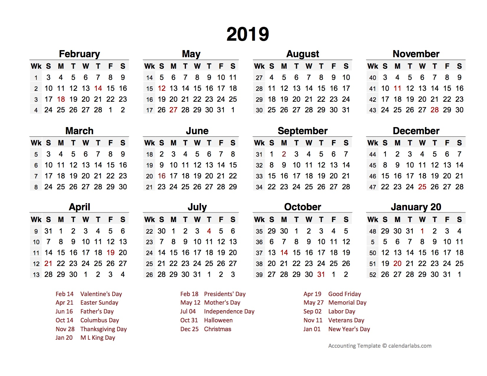 2019 Accounting Period Calendar 4-4-5 - Free Printable ...