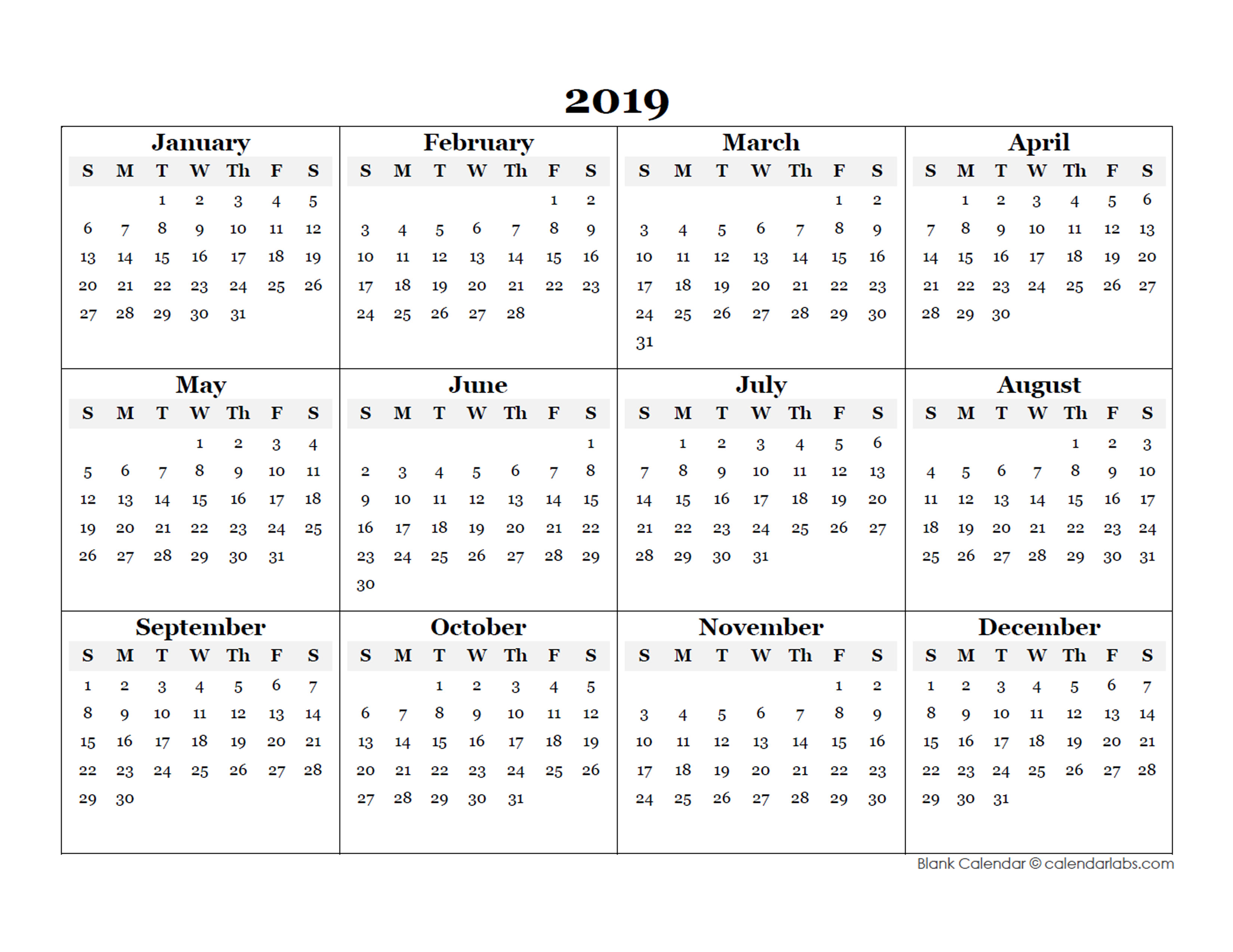 Year Calendar Free Download : Blank yearly calendar template free printable templates