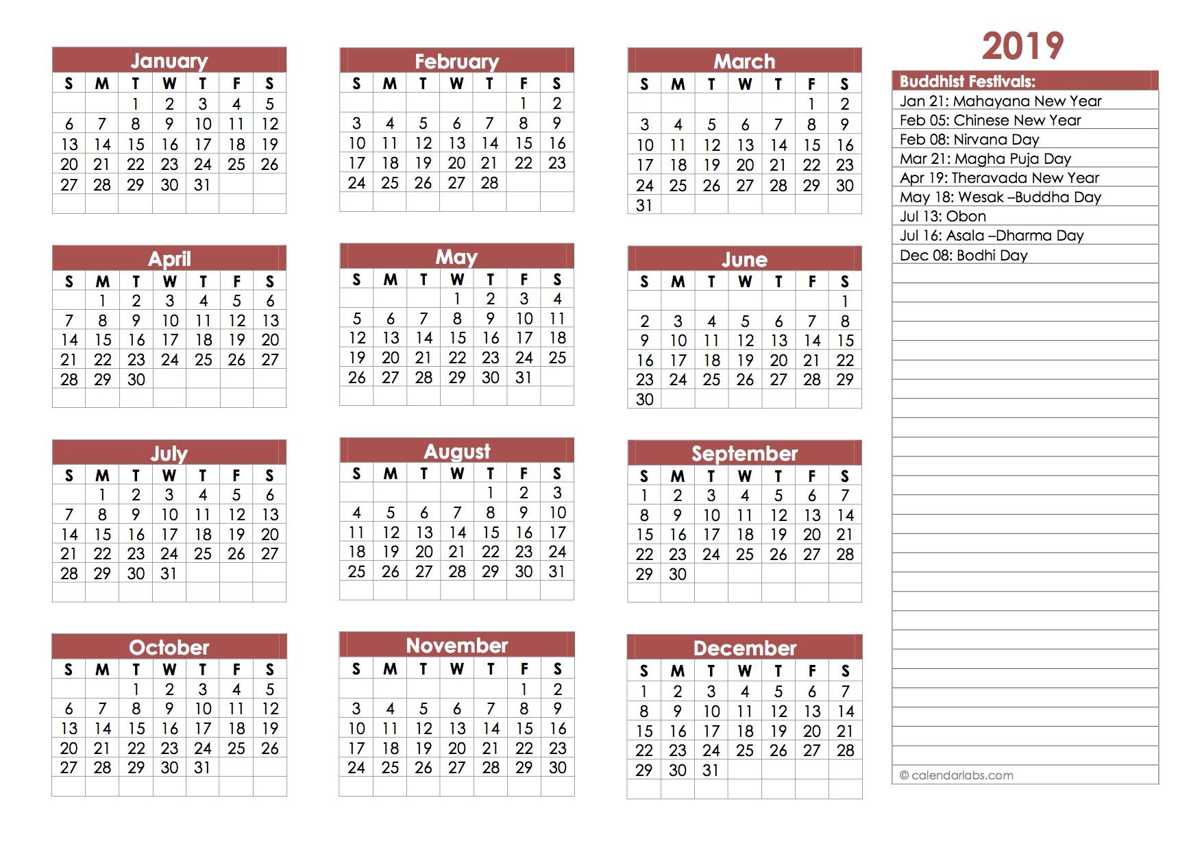 2019 buddhist festivals calendar template