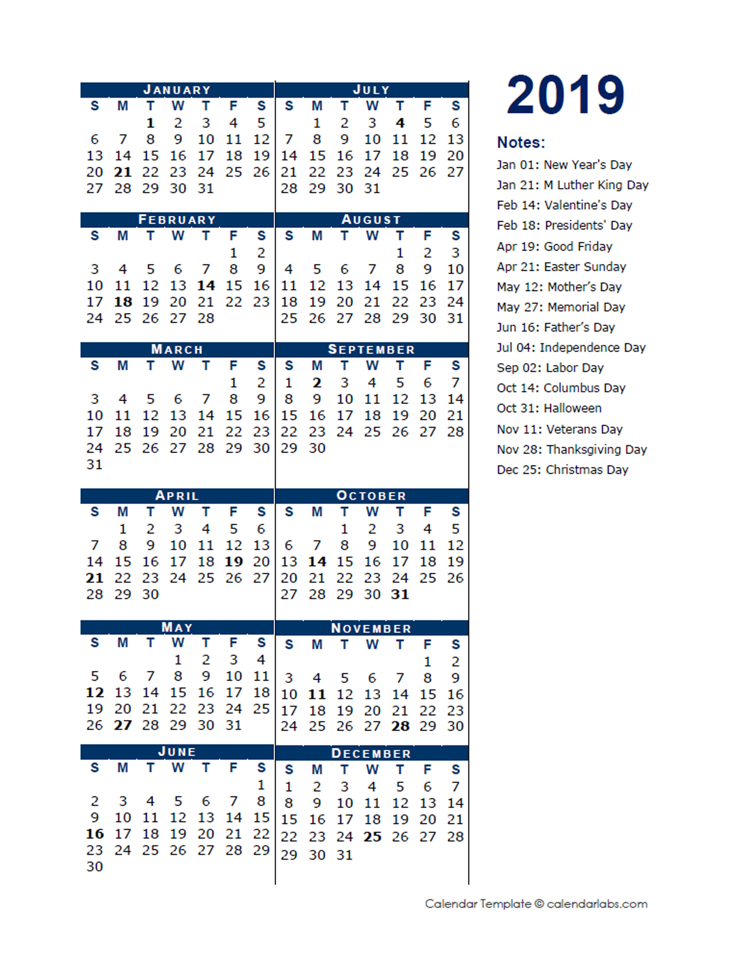 2019 Full Year Calendar Template Half Page - Free ...