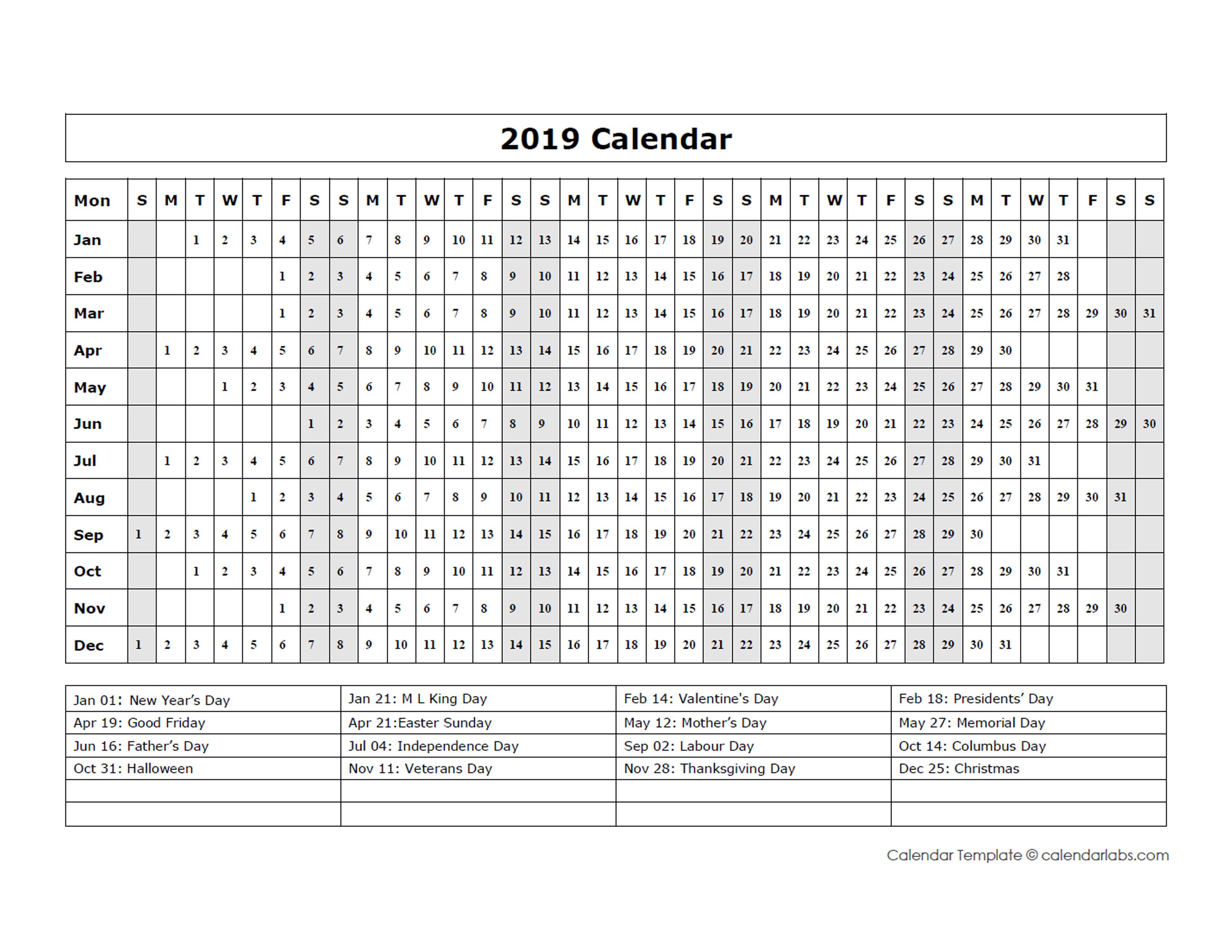 Calendar Templates Year At A Glance : Calendar template year at a glance free printable