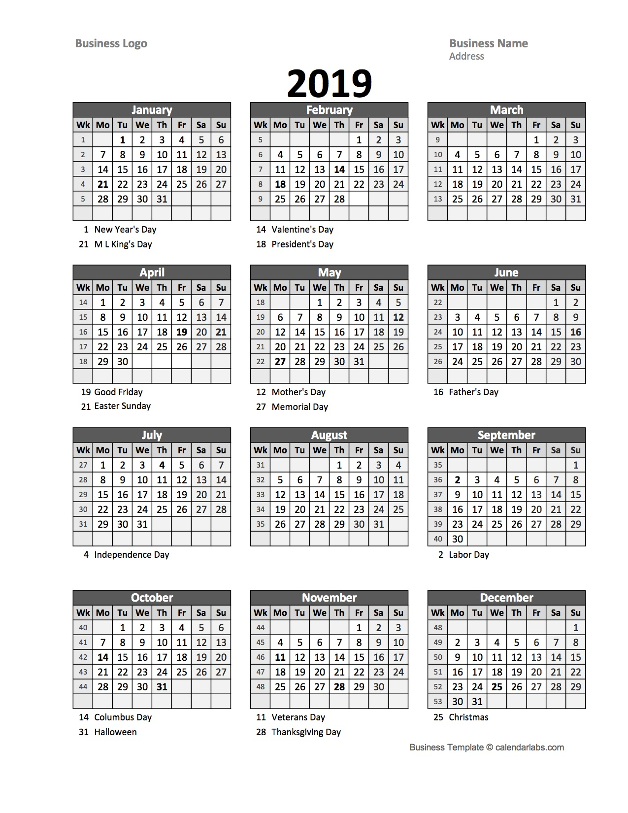 2019 yearly business calendar with week number