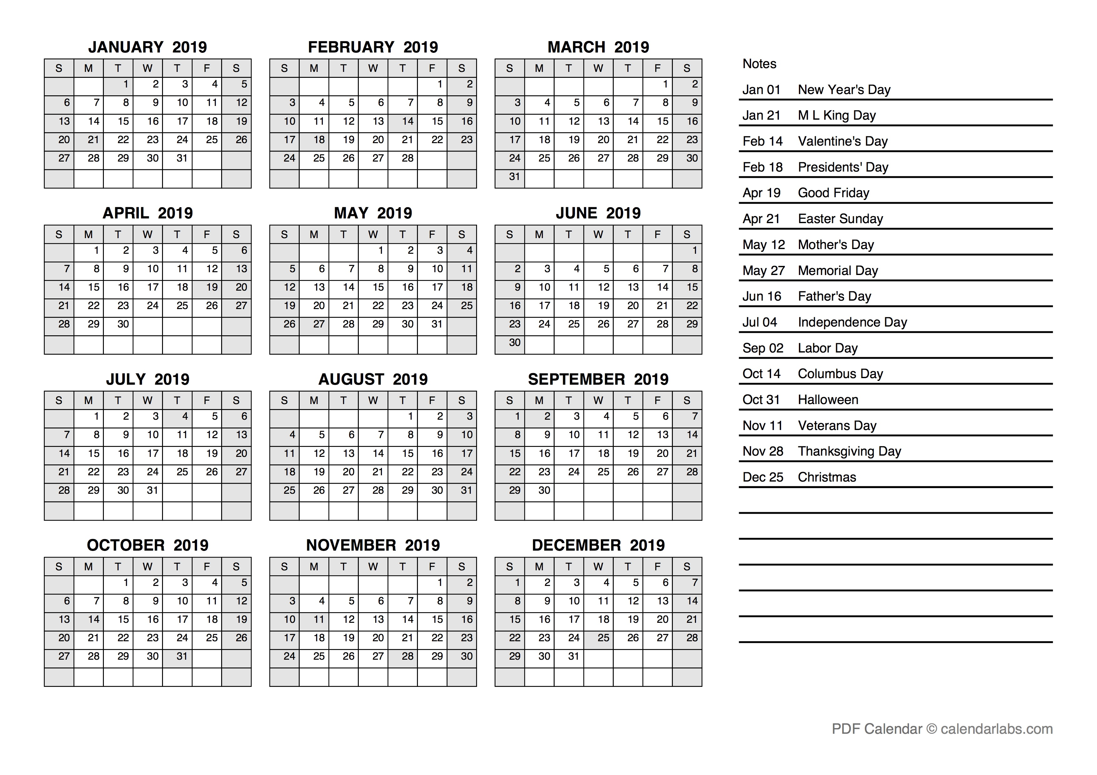 2019 Yearly Calendar Pdf Free Printable Templates