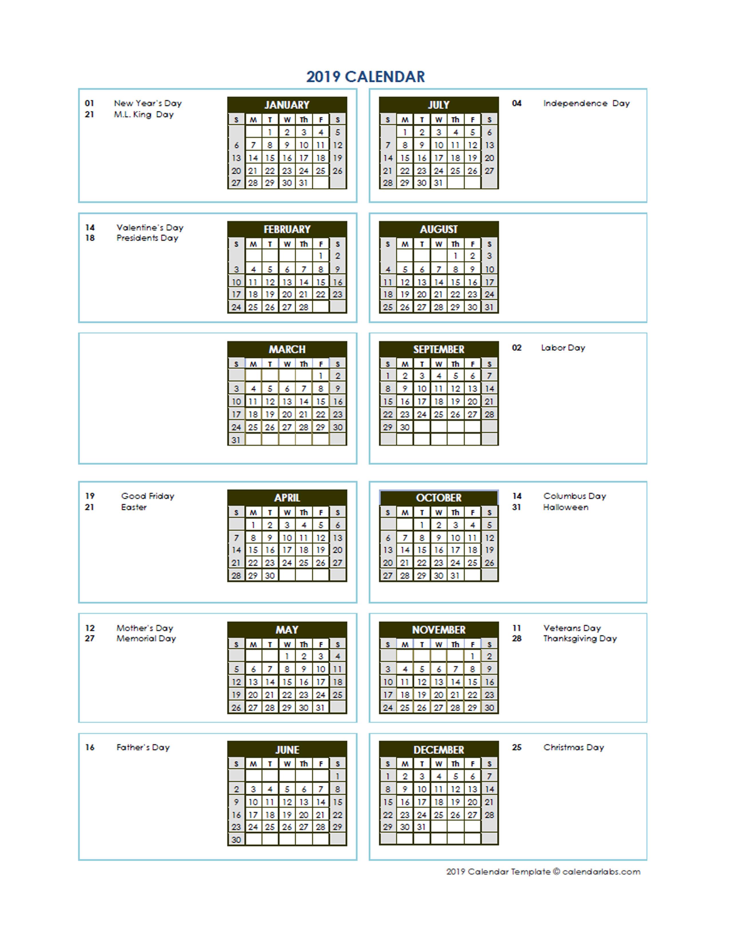 2019 annual calendar vertical template