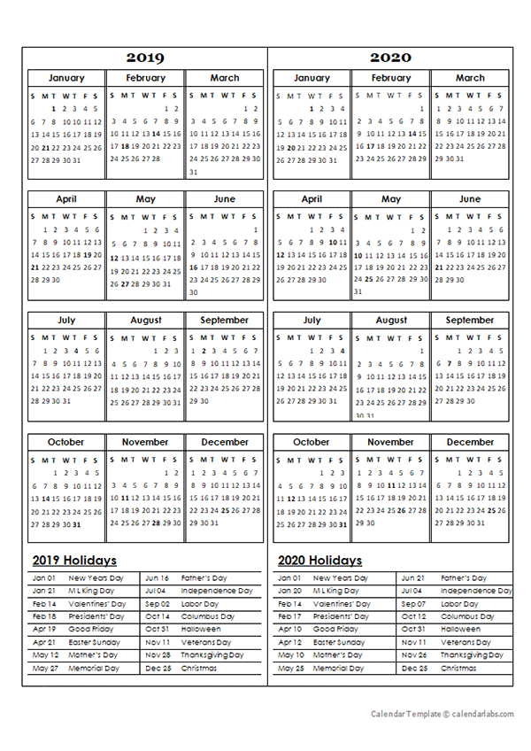 two year calendar template 2019 and 2020