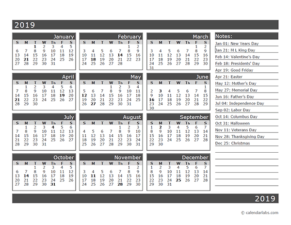 12 Month One Page Calendar Template For 2019 Free Printable Templates