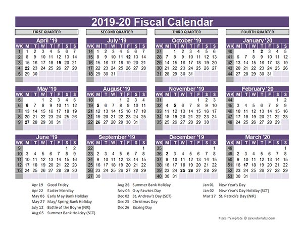Uk Fiscal Calendar Template 2019 20 Free Printable Templates