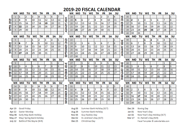 2019 Fiscal Calendar Template Starts at April