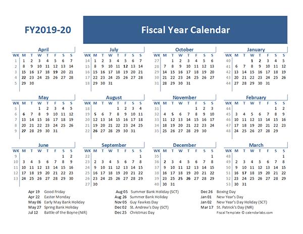 2019 Fiscal Year Calendar Template UK
