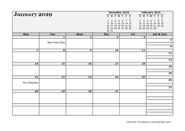 2019 Monthly Planner Template Landscape