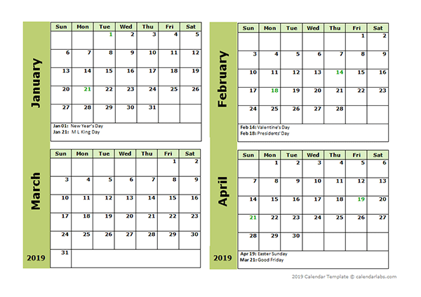 2019 Four Month Calendar Template Free Printable Templates