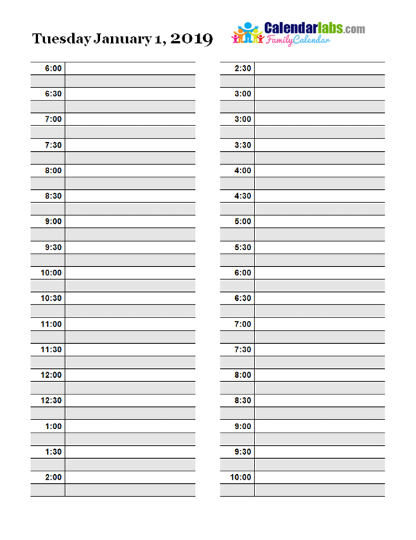 Super 2019 Daily Planner Template - Free Printable Templates @WU56