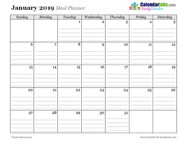2019 Monthly Menu Planner