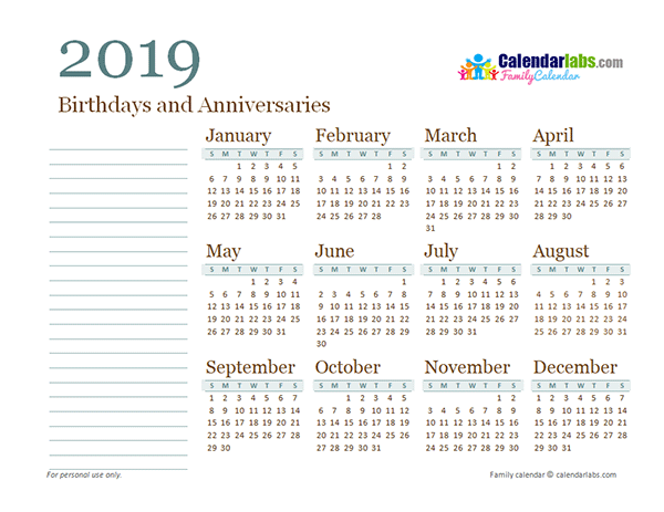 2019 Yearly Family Calendar