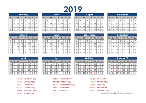 2019 Accounting Calendar 4 5 4 Free Printable Templates