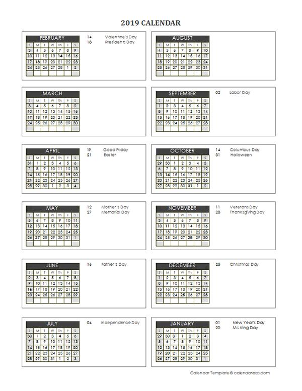 2019 Accounting Close Calendar 4-4-5