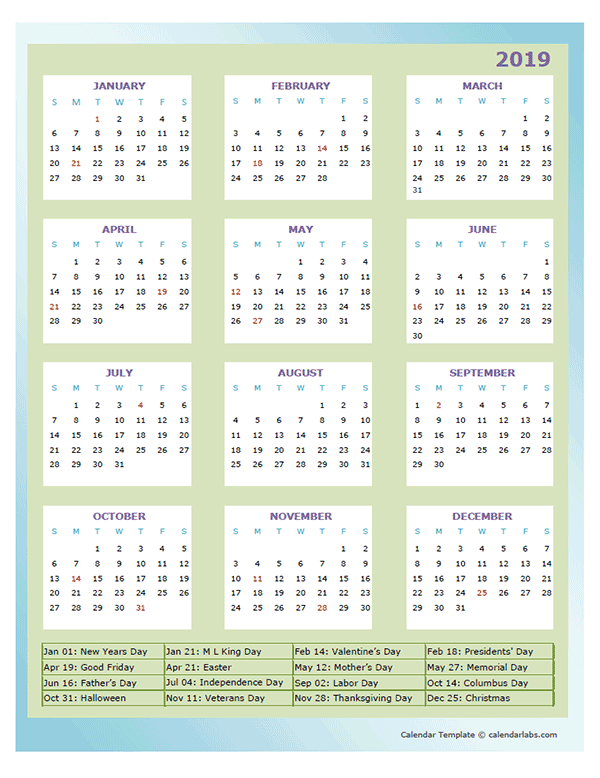 2019 Annual Calendar Design Template