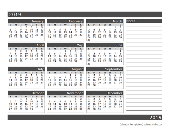 2019 Blank 12 Month Calendar in One Page