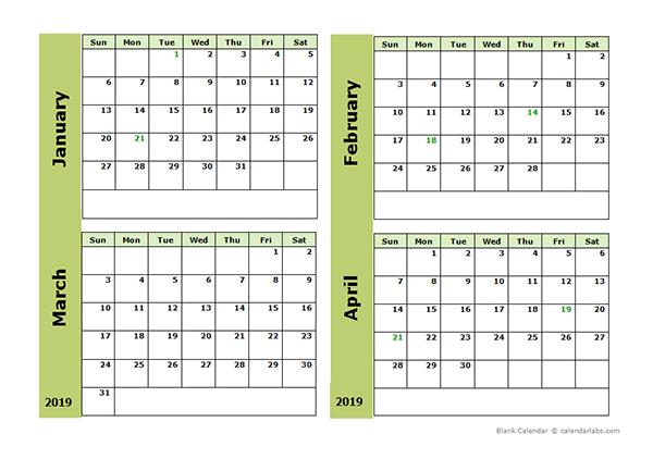 2019 Blank Four Month Calendar