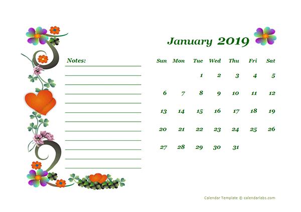 2019 Blank Calendar Design Template