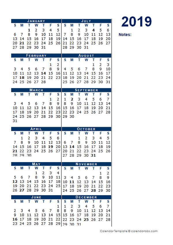 2019 Blank Calendar Half Page Template
