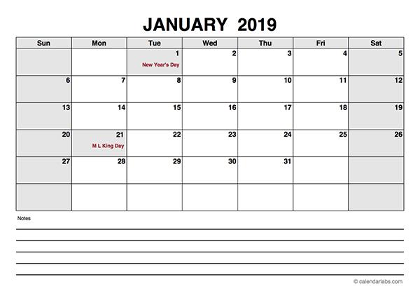 2019 Blank Calendar PDF