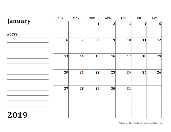 2019 Blank Calendar Template with Notes
