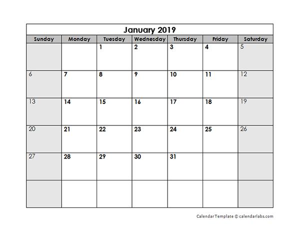 2019 blank monthly calendar