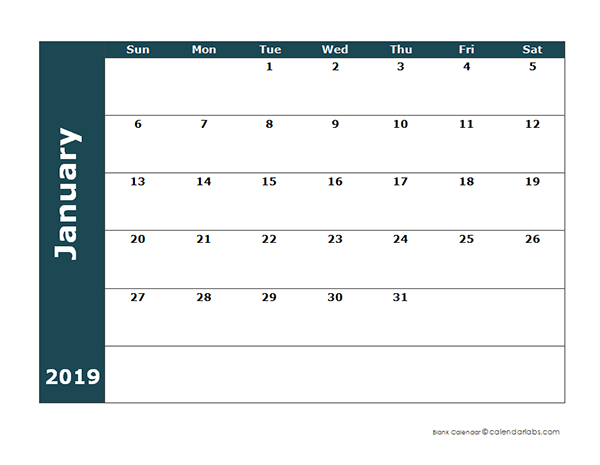 2019 Monthly Blank Calendar