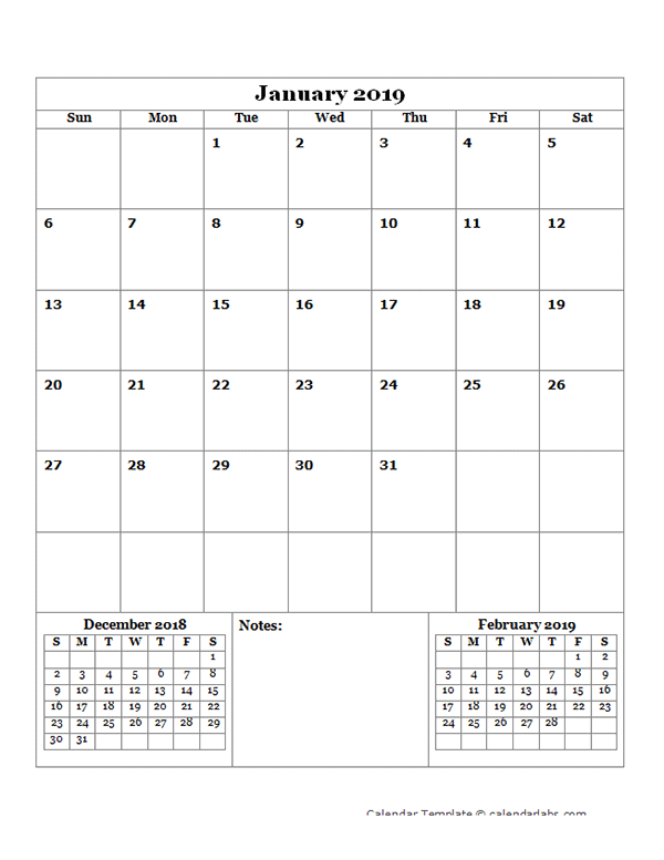 2019 Blank Monthly Planner