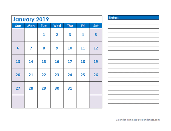 2019 Blank Printable Calendar