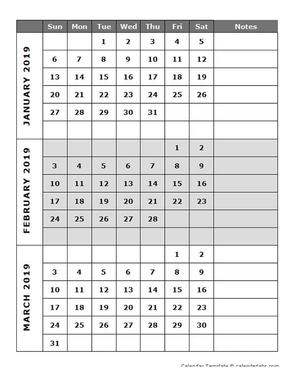 2019 Blank Quarterly Calendar