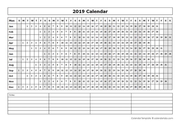 2019 blank year at a glance calendar