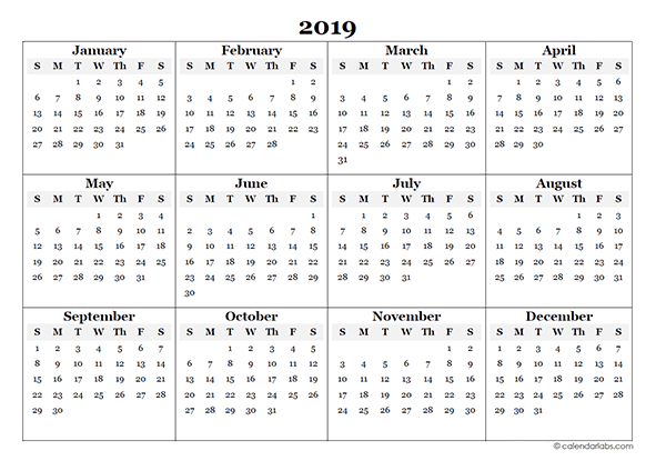 2019 Blank Yearly Calendar Template Free Printable Templates
