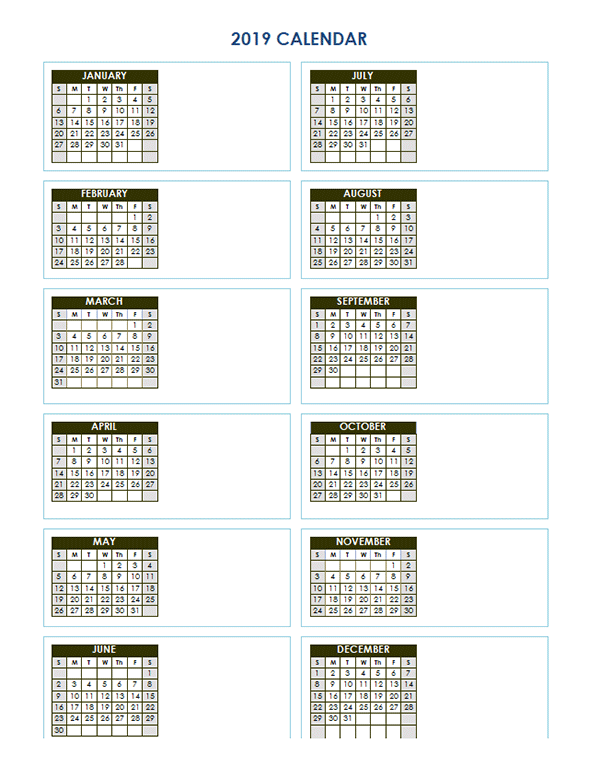 2019 Blank Yearly Calendar Vertical Template