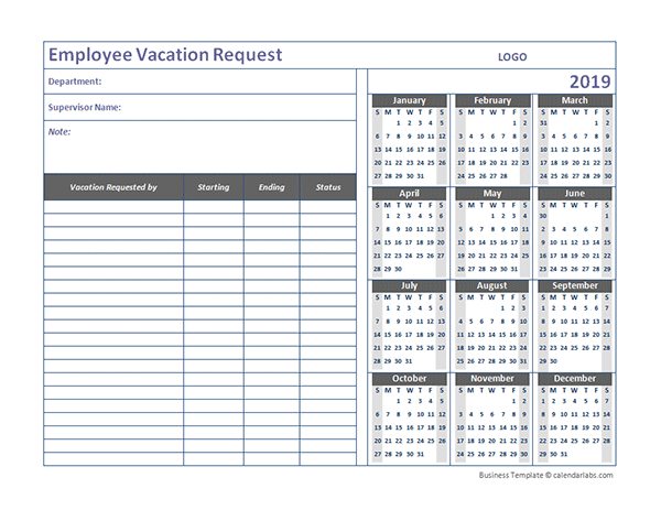 Employee Vacation Planner Template Excel 2019 | Find Your ...
