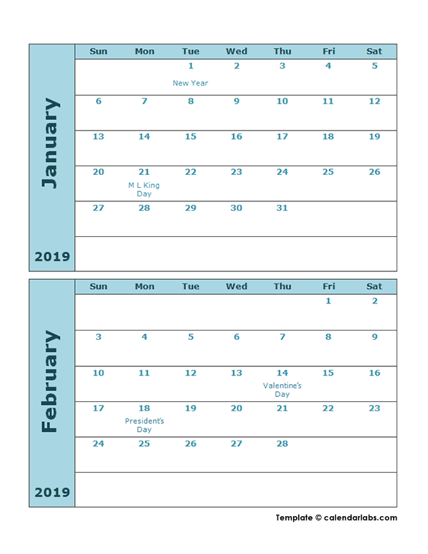 2019 Calendar Template Two Months Per Page