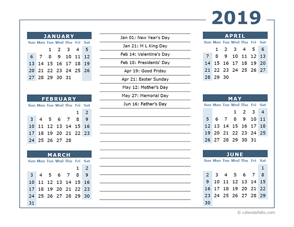 2019 Calendar Template 6 Months Per Page Free Printable Templates