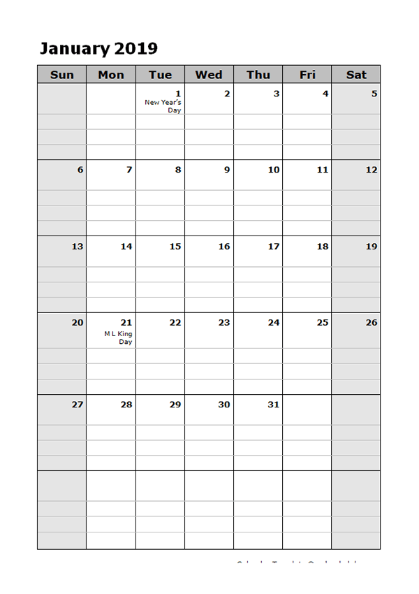 2019 Daily Planner Calendar Template Free Printable Templates