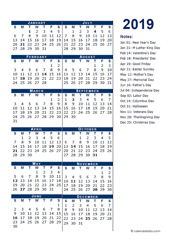 2019 Full Year Calendar Template Half Page Free Printable Templates