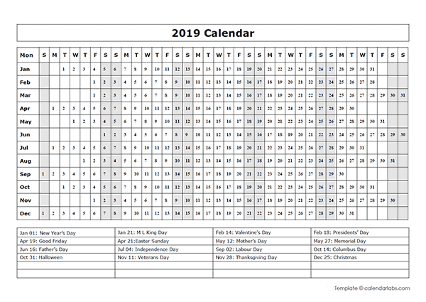 2019 calendar template year at a glance free printable templates