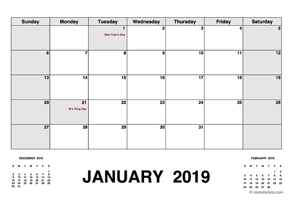 2019 Calendar With Holidays PDF