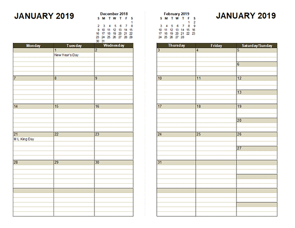2019 diary planner template free printable templates