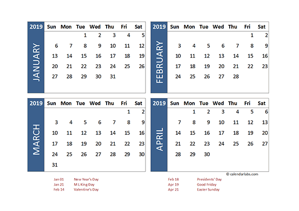 2019 Excel 4 Month Calendar Template Free Printable Templates