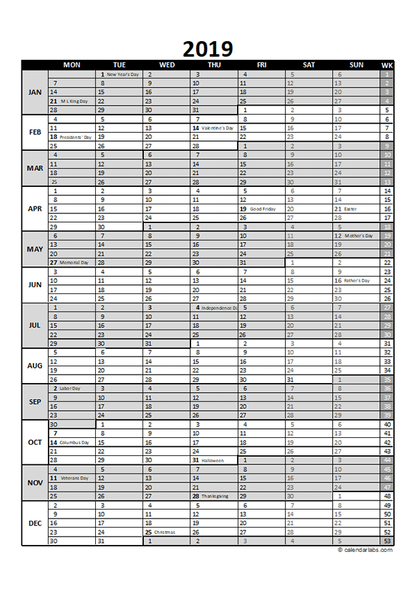 Free 2019 Excel Calendar for Project Planning