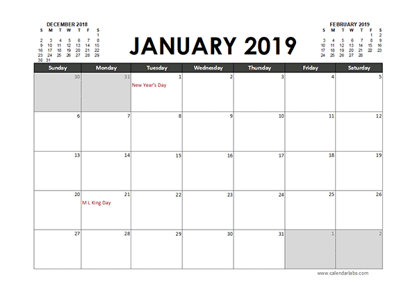 Monthly 2019 Excel Calendar Planner - Free Printable Templates