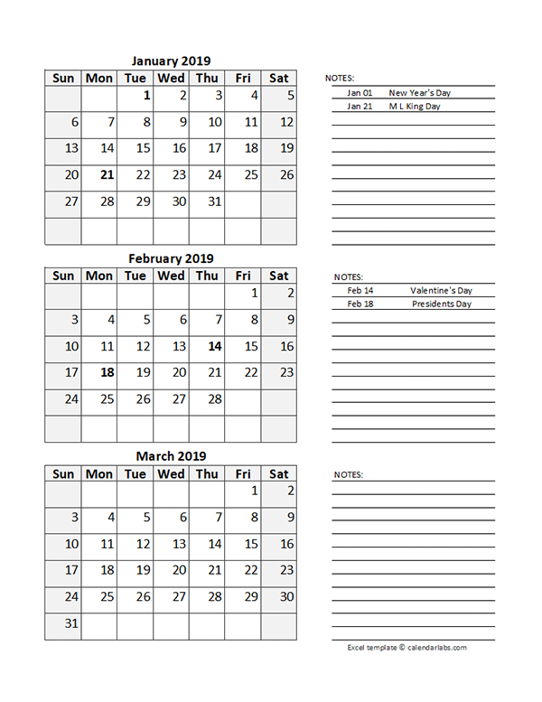 Free 2019 Quarterly Calendar Spreadsheet